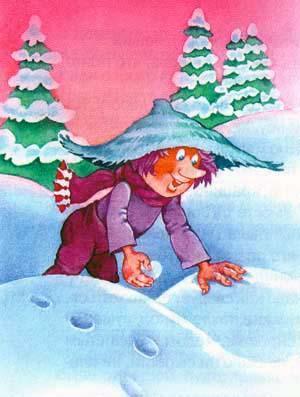 Гном Хёрбе играет в снежки