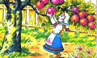 дочька младшая и яблоня хаврошечка