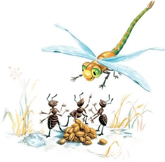 Раскраска по басне стрекоза и муравей