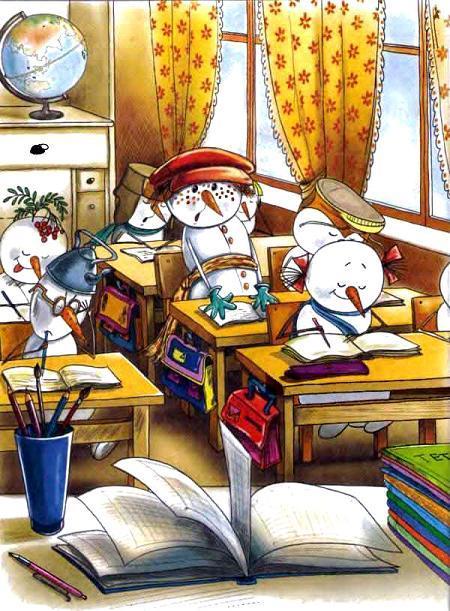 снеговики учатся в школе