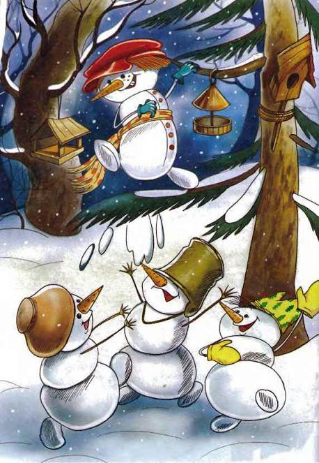 снеговики в лесу