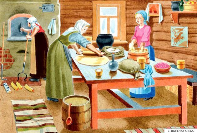 выпекают хлеб в печи