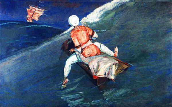 Синдбад-мореход плывет на деревянном корыте