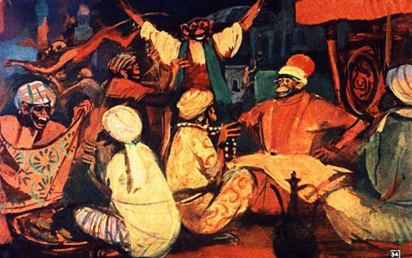 Обезьяны рассыпались по всему рынку, сели в лавках и начали торговать