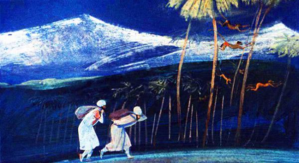 Синдбад-мореход и Мансур взвалили мешки, наполненные камнями, и пошли в лес