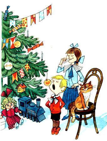 Леля ест пастилку с новогодней елки Минька яблоко